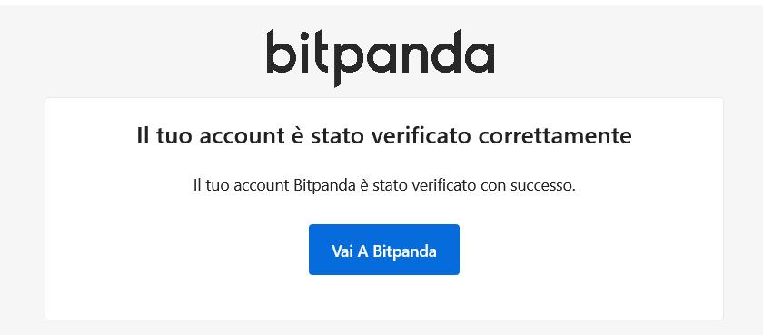 Account verificato correttamente su Bitpanda