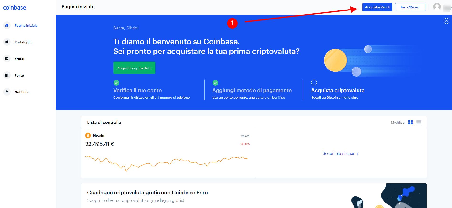 Acquista criptovaluta su Coinbase