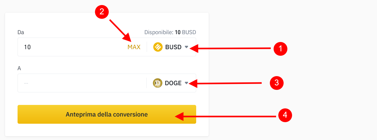 Anteprima conversione BUSD in Dogecoin