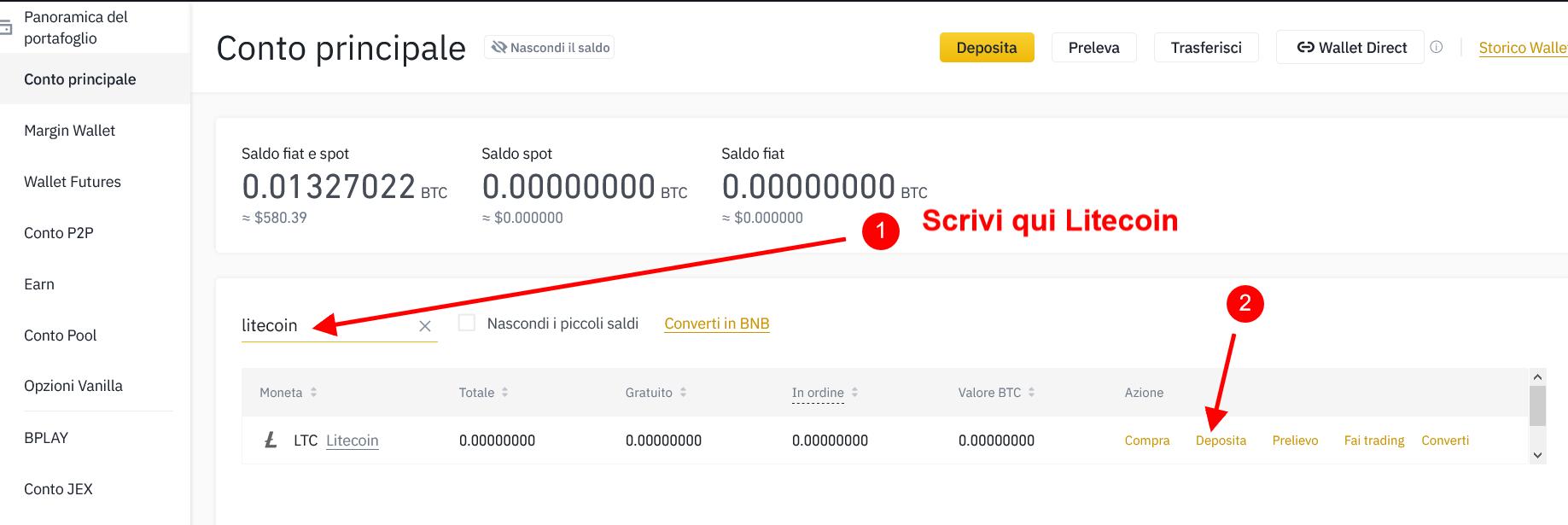 Cerca Litecoin e clicca su deposita