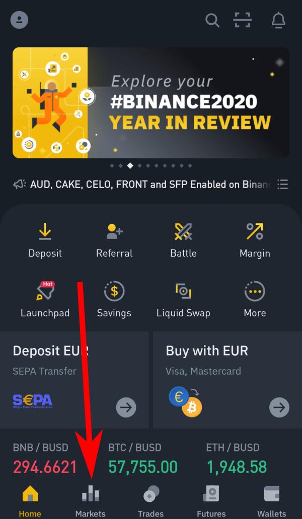 Clicca su Markets dalla Dashboard