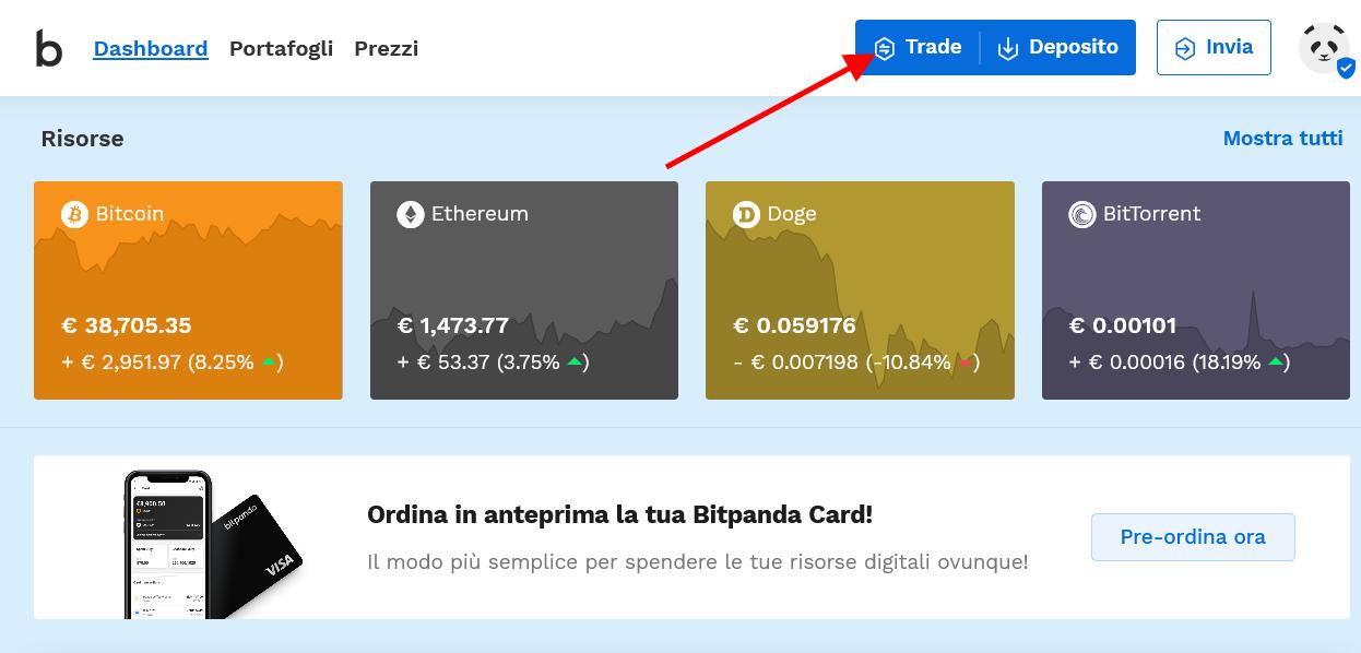 Clicca sul pulsante trade per comprare Dogecoin o altre criptovalute