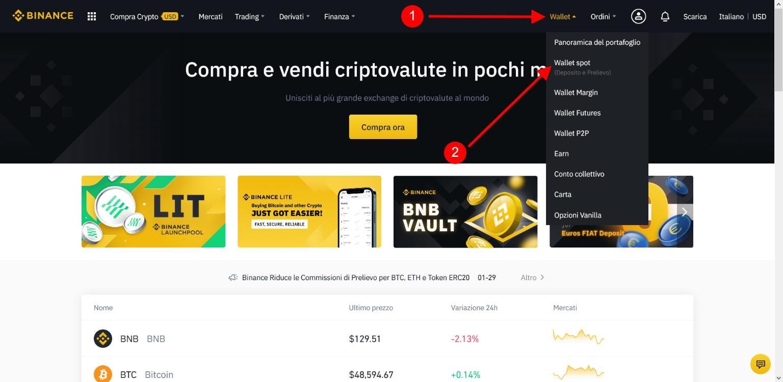 Wallet > Wallet Spot su Binance