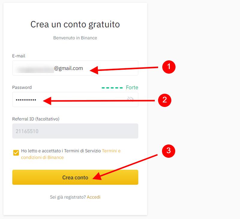 Come creare un conto su Binance.com