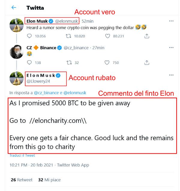 Commento truffa finto Elon Musk