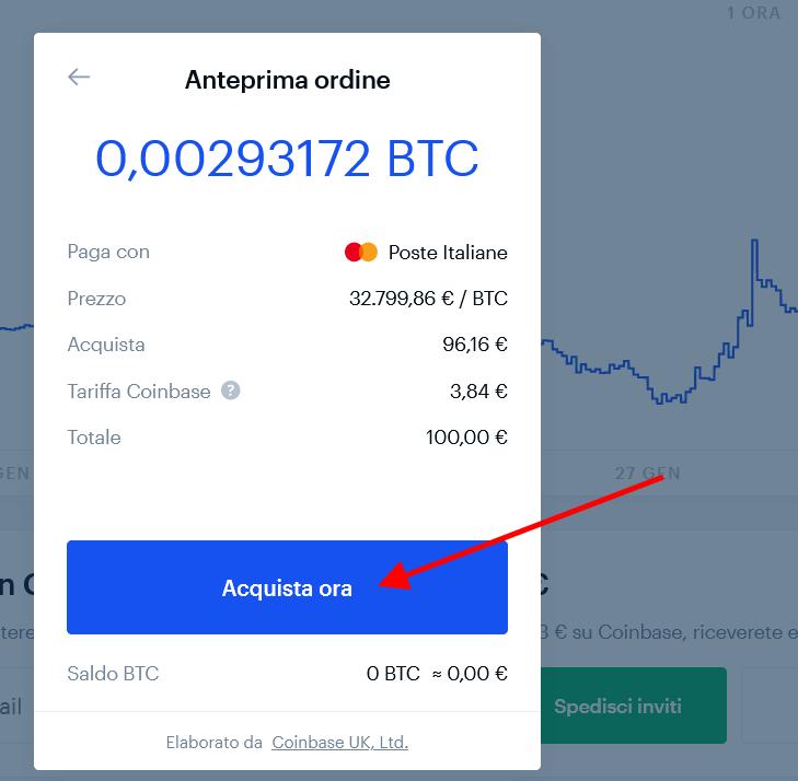 Completa acquisto criptovaluta su Coinbase