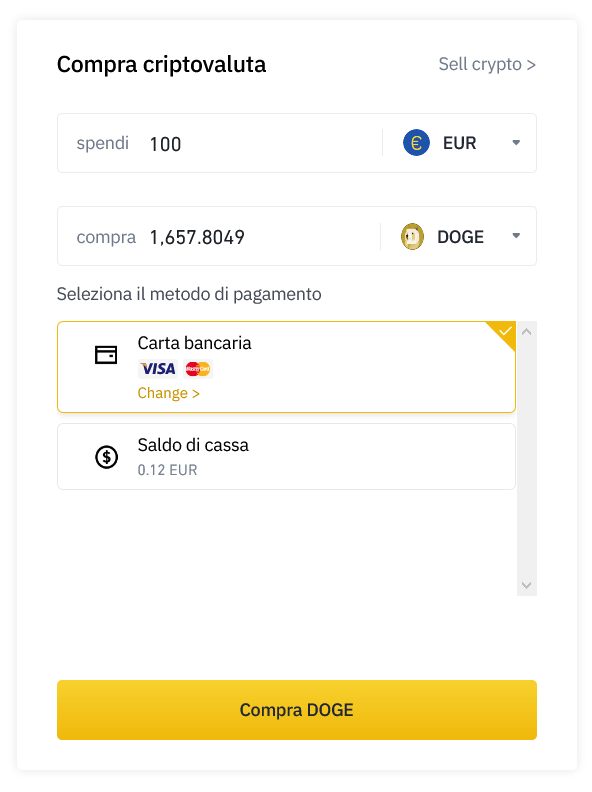 Compra Dogecoin direttamente con carta Visa o Mastercard