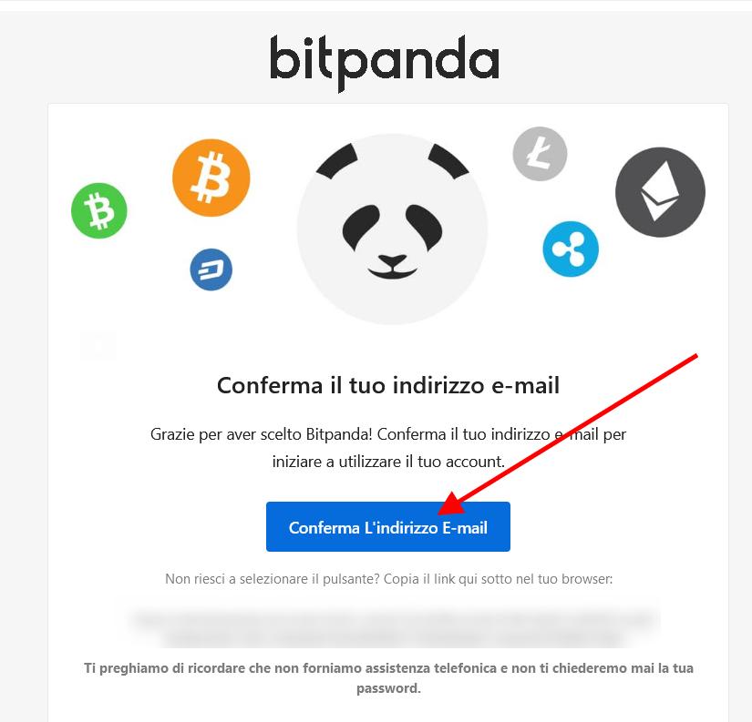 Conferma l'indirizzo email per creare account su Bitpanda