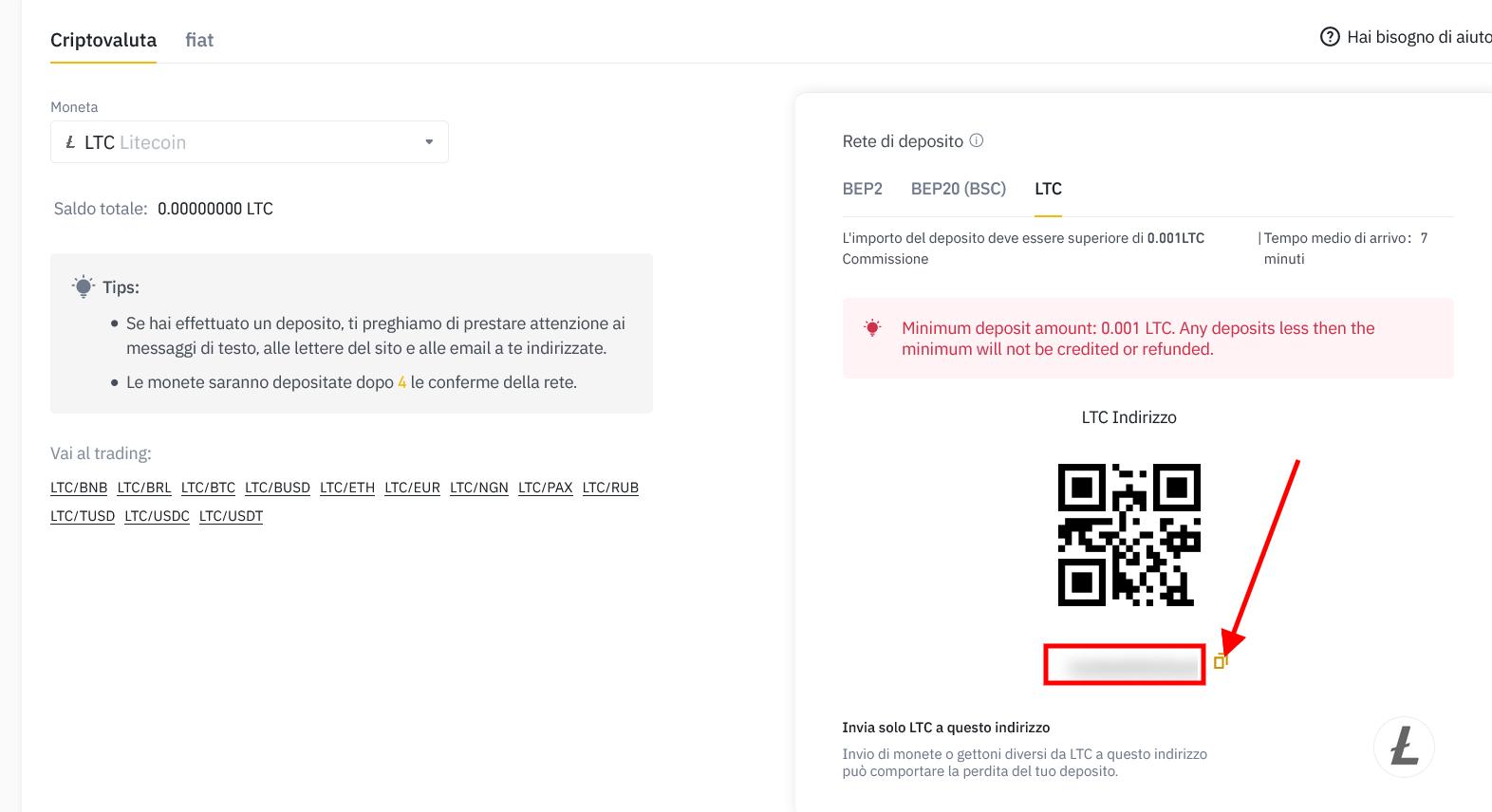Copia indirizzo wallet Litecoin