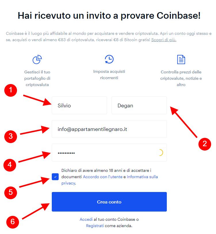 Creazione conto su Coinbase