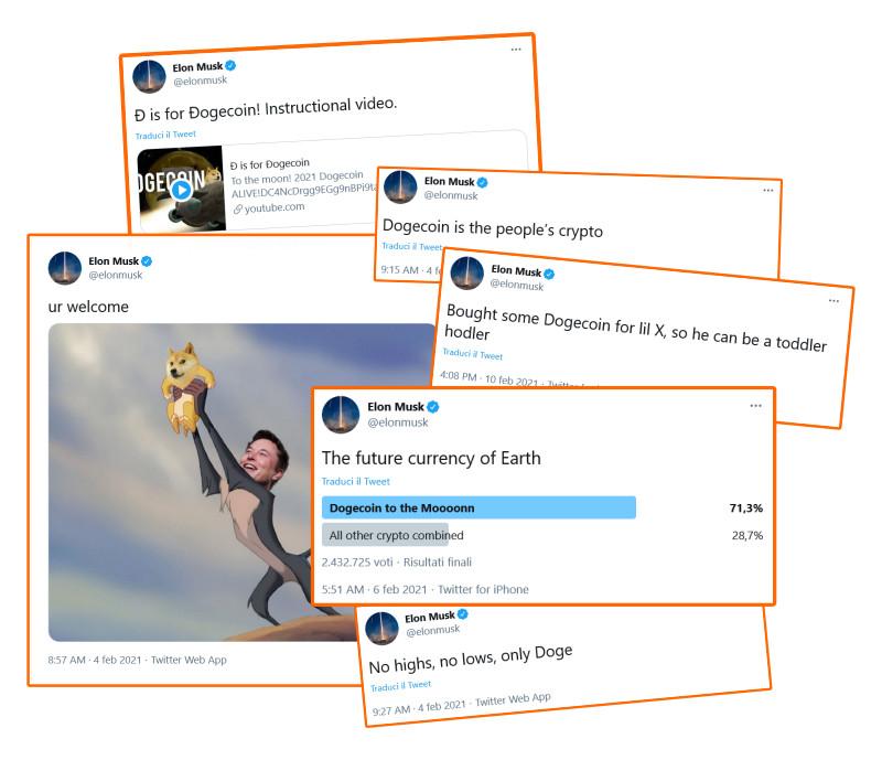 Apprezzamenti di Elon Musk per Dogecoin su Twitter