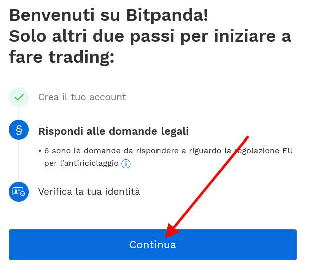 Rispondi alle domande legali per creare account su Bitpanda