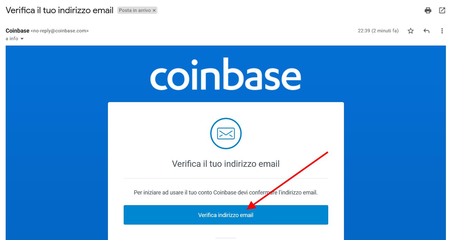 Verifica indirizzo email per creazione conto su Coinbase