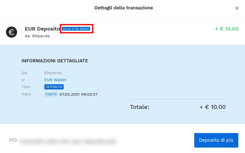 """Accredito immediato bonus di 10€ della promozione """"dillo a un amico"""" di Bitpanda"""