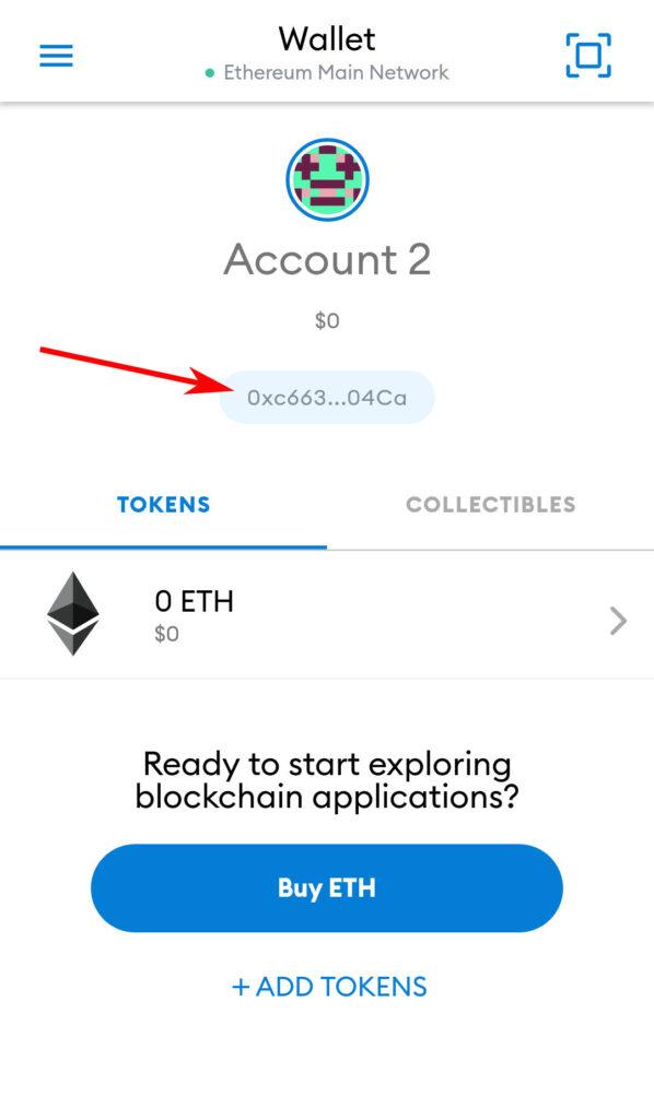 Copia indirizzo del wallet MetaMask da app per Smartphone o Tablet