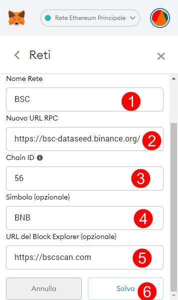 Parametri rete BSC