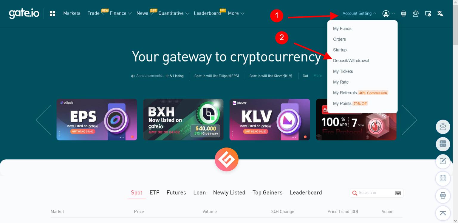 Account setting > deposit/withdrawal su Gate.io