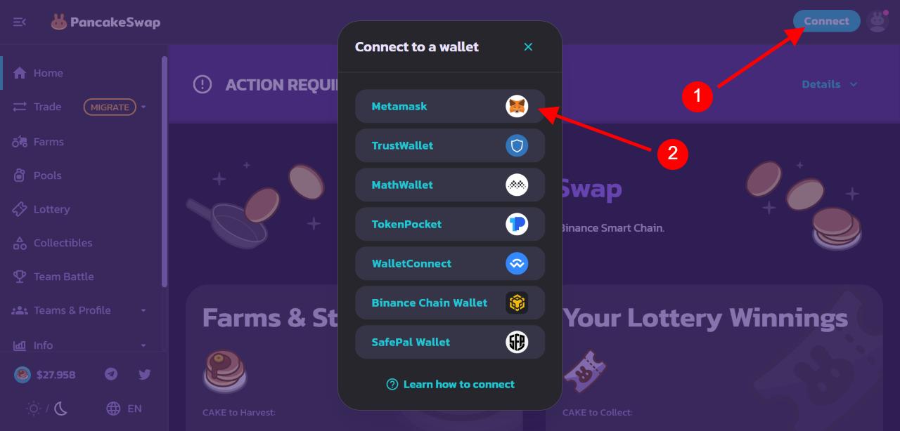 Clicca su Connect e su MetaMask