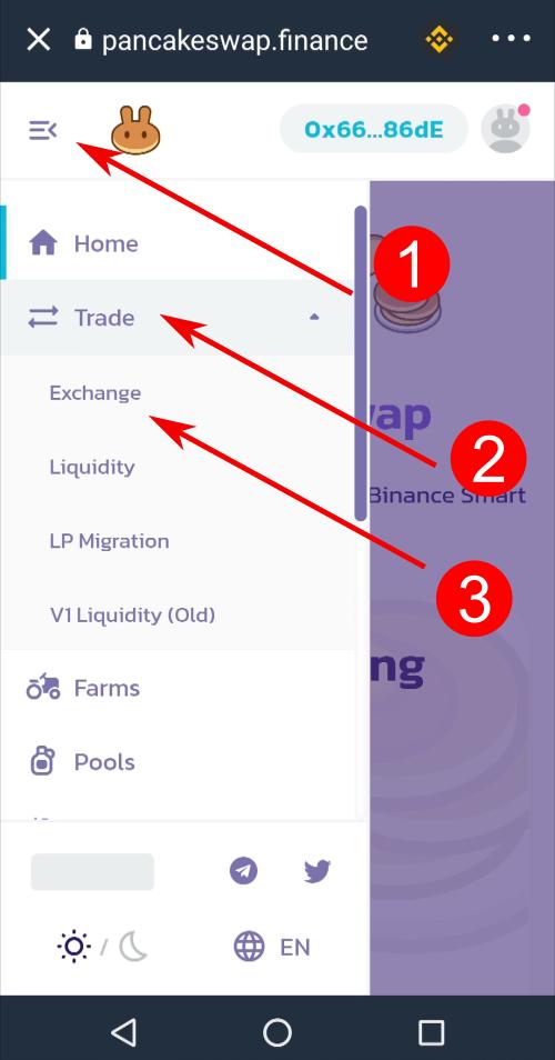 Fai tap su menu -> Trade -> Exchange