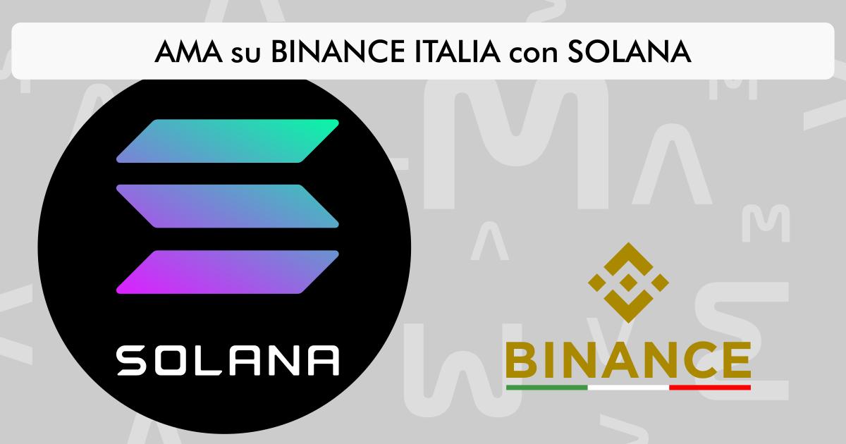 AMA su Binance Italia con Solana