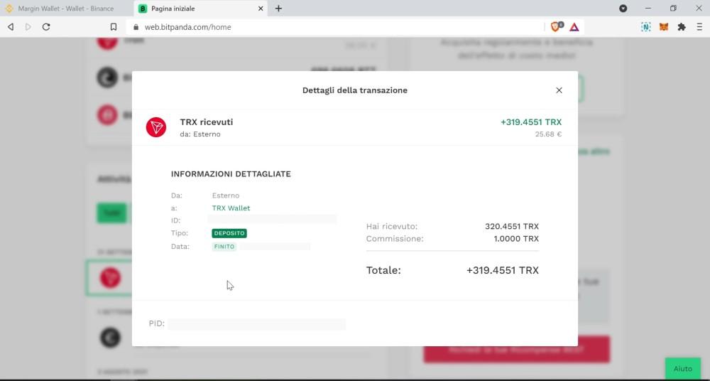 Fondi ricevuti su Bitpanda