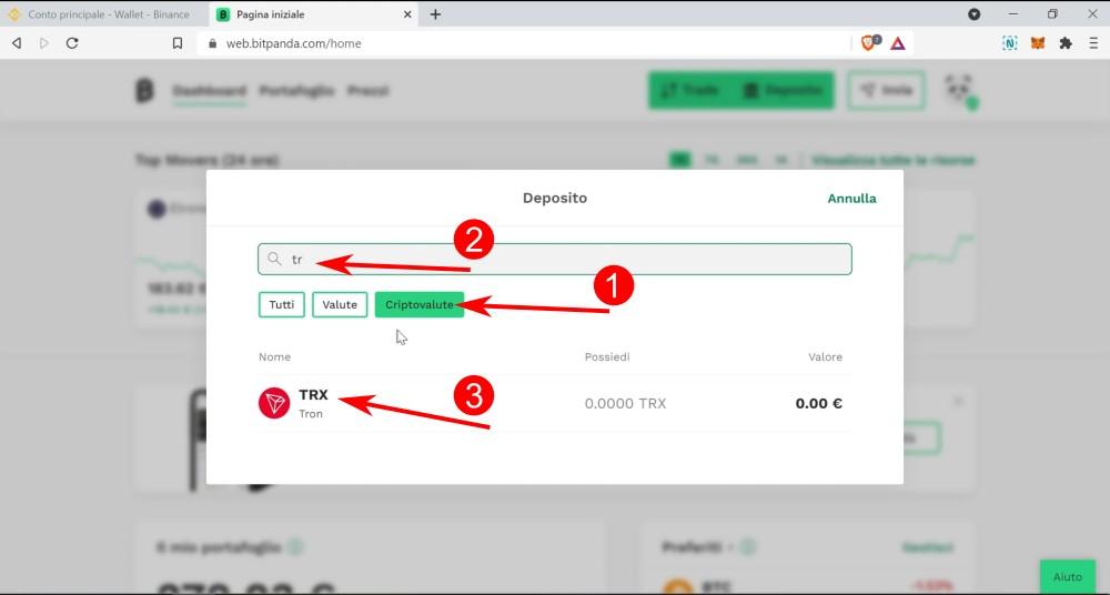 3 passaggi per selezionare la criptovaluta da depositare